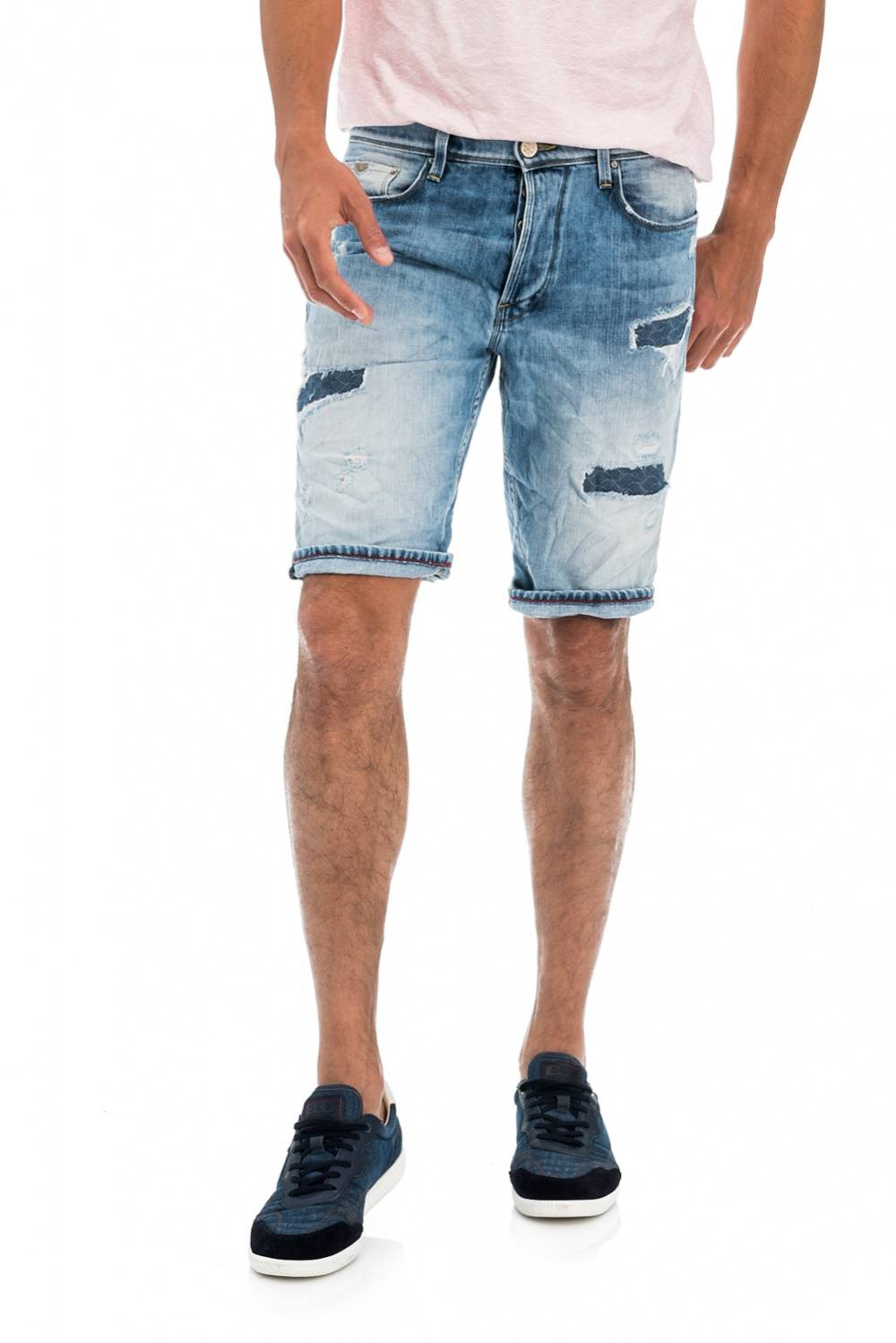 Loose Shorts with Patches - Salsa